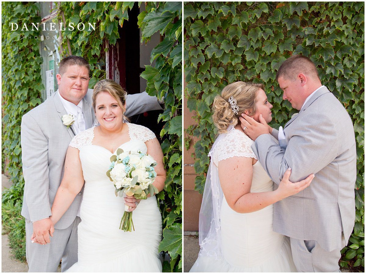 Bride and groom portraits in downtown Cedar Falls Iowa, photographed by Waterloo IA wedding photographer, Danielson Photography.