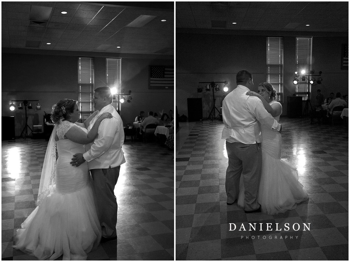 Wedding reception at the UAW Hall in Waterloo Iowa, photographed by Waterloo IA wedding photographer, Danielson Photography.